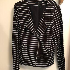 ~MOSSIMO~ Striped Blazer w/ asymmetrical zipper